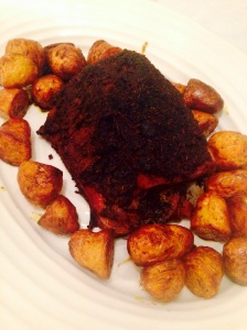 mechouia-style lamb leg with cumin dipping salt, turmeric and cumin roasted potatoes